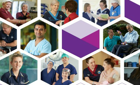 Collage of images of medical staff and patients